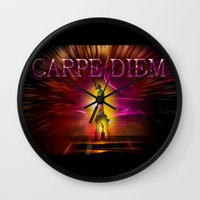 carpe diem Wall Clocks featuring Carpe Diem by Walter Zettl
