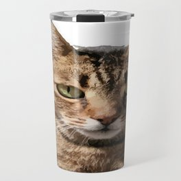 Portrait Of A Cute Tabby Cat With Direct Eye Contact Isolated Travel Mug