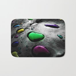 Abstract Art - Colored Drops of Rain on black background Bath Mat