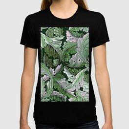 Art Nouveau William Morris Green Acanthus Leaves T-shirt