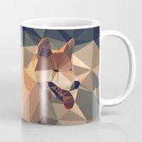 shiba Mugs featuring Triangular shiba inu by Matěj Kašpar Jirásek