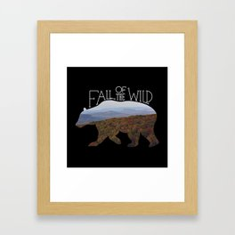Fall of the Wild Autumn Mountain Wilderness Landscape Bear Silhouette Black Framed Art Print