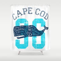 cape cod Shower Curtains featuring Cape Cod Whale by Rob Howell