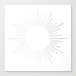 Sunburst Moonlight Silver on White Canvas Print