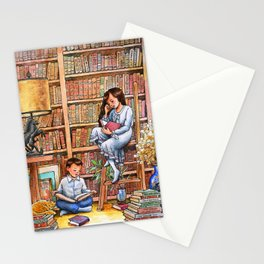 Grandma's Library Watercolor Illustration Stationery Cards