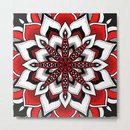 Mandala : Red Flower Mandala Metal Print