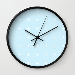 PLUS ((white on baby blue)) Wall Clock