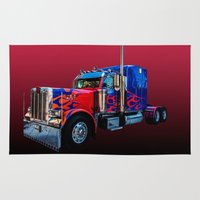 optimus prime Area & Throw Rugs featuring Optimus Prime Red by Steve Purnell