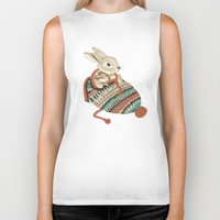 animals Biker Tanks featuring cozy chipmunk by Laura Graves