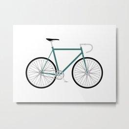 Fixed Gear Bike - Green Metal Print