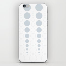 Up and down polka dot pattern in white and a pale icy gray iPhone Skin