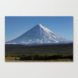 Stunning autumn view of active Klyuchevskoy Volcano on Kamchatka Peninsula on sunny day Canvas Print