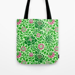 Jacobean Floral Wallpaper, Emerald and Lime Green Tote Bag
