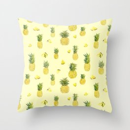 Pineapple Watercolors Throw Pillow