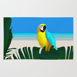 Parrot Tropical Banana Leaves Design Rug