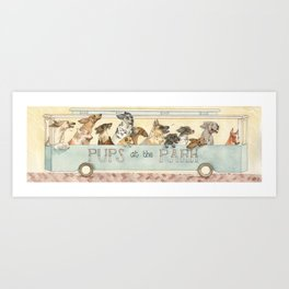 Pups in the Park Art Print