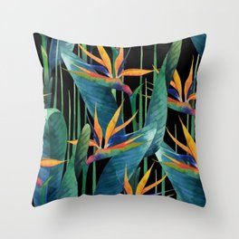 Watercolor Painting Tropical Bird of Paradise Plants large Throw Pillow