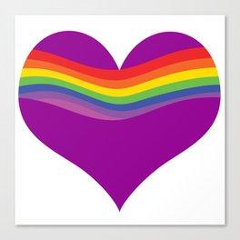 Rainbow Heart Wave - RL - Purple Canvas Print