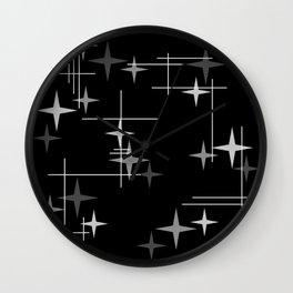 Mid Century Modern Stars (Black) Wall Clock