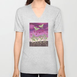 echinacea daydream with luna moths and snails Unisex V-Neck