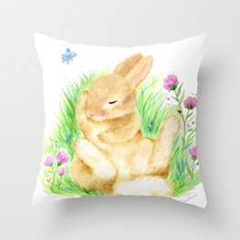 Snoozing Hare Throw Pillow