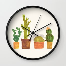 Hedgehog and Cactus (incognito) Wall Clock