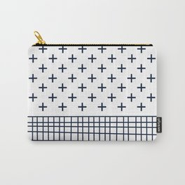 Cross Geometric Modern Navy and White Carry-All Pouch