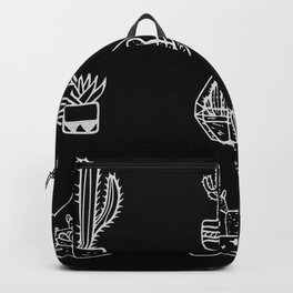 Minimalist Cacti Collection White on Black Backpack