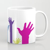 hands Mugs featuring Hands by Sitchko Igor