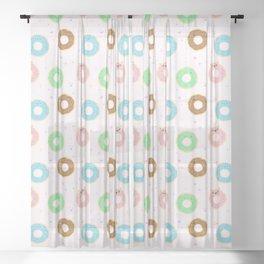 donut pattern pink kawaii cute gift Sheer Curtain
