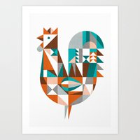 mid century Art Prints featuring mid-century rooster by dennisthebadger