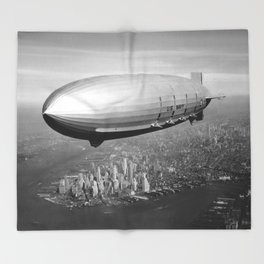 Airship over New York Throw Blanket