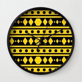 Tribal Yellow Pattern Wall Clock