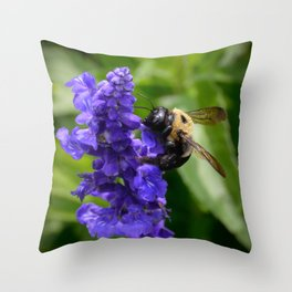 Bumble Bee on Veronica Spike Speedwell Flower by Teresa Thompson Throw Pillow