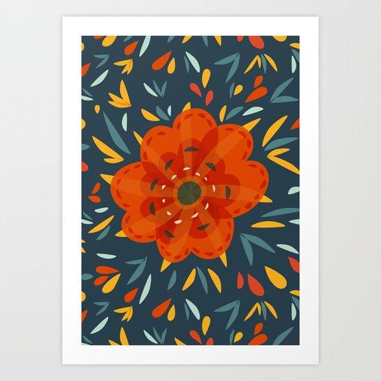 Decorative Whimsical Orange Flower Art Print