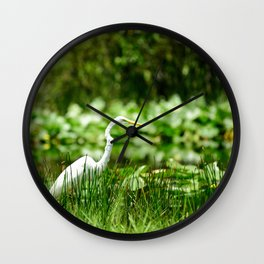 Great Egret in a Green Field Wall Clock