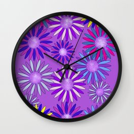 Ultra Violet Floral Poetry Wall Clock