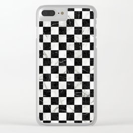Marble Checkerboard Pattern - Black and White Clear iPhone Case