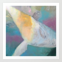 """whale fall"" abstract painting in teal, purple, cream, white, and gold Art Print"