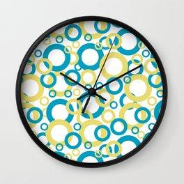 Blue Green, Yellow, White Geometric Ring Pattern 2021 Color of the Year AI Aqua 098-59-30 Wall Clock
