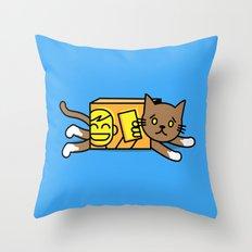 box cat Throw Pillow
