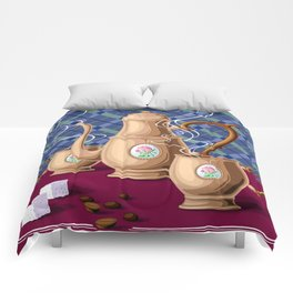 Coffee pot and two cups Comforters