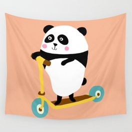 Panda on scooter Wall Tapestry