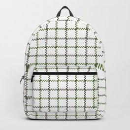 Fern Green & Sludge Grey Tattersall on White Background Backpack