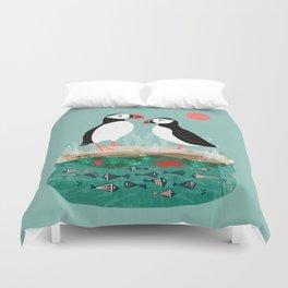 Puffins - Bird Art, Shorebird, Sea bird, birds, Cute illustration by Andrea Lauren Duvet Cover