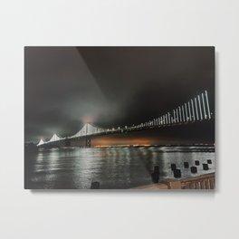 San Francisco Bay Bridge at Night Metal Print