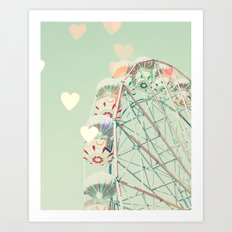 Ferris wheel nursery and heart bokeh on pale blue Art Print