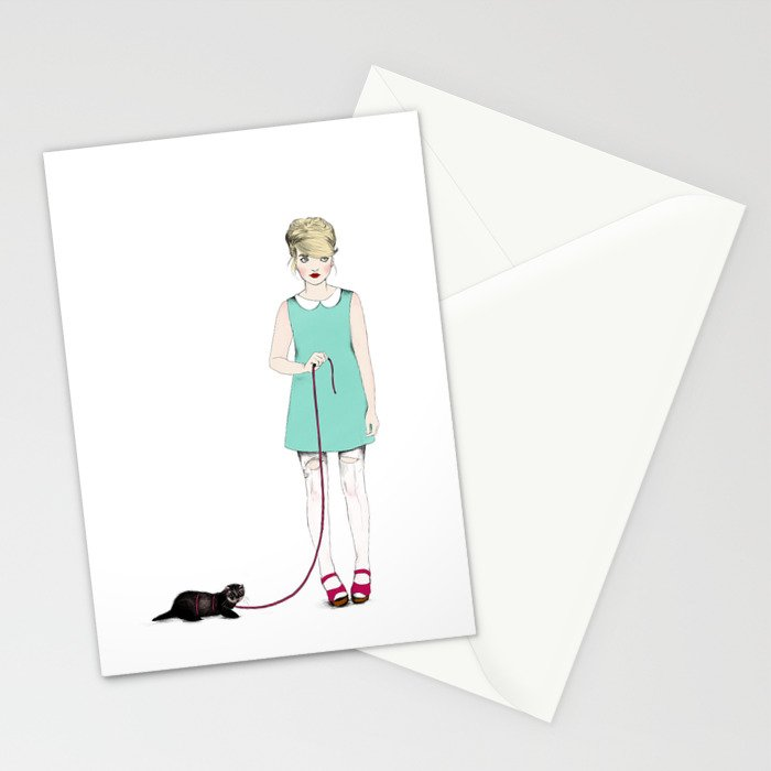 The girl with the ferret Stationery Cards