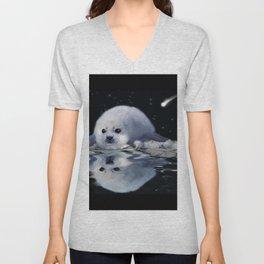 Destiny - Harp Seal Pup & Ice Floe Unisex V-Neck