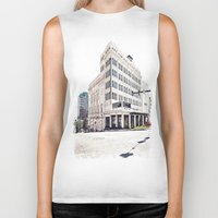 theater Biker Tanks featuring Historic Tacoma Theater by Vorona Photography